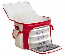 Bolsa Térmica 3 potes - Vermelha c/Marfim Fit Model